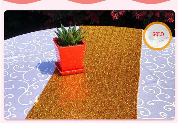 best selling 30*275cm Fabric Table Runner Gold Silver Sequin Table Cloth Sparkly Bling for Wedding Party Decoration Products Supplies Epacket Free