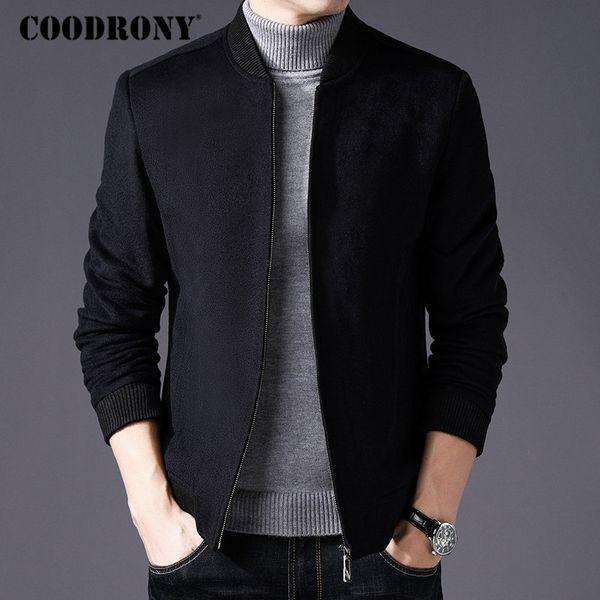 Großhandel COODRONY Männer Mantel Winter Dicke Warme Wolle Mantel Männer Kleidung 2018 Slim Fit Pea Mandarin Kragen Jacke Mantel Herren Mäntel C004