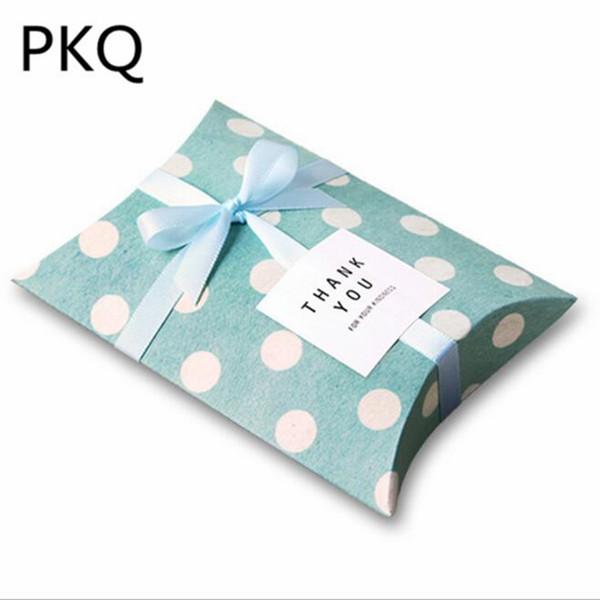 20pcs Vintage Green Dot Design Jewelry Gift Box Kraft Wedding Small Candy Box Craft Paper Pillow Shape Gift Box