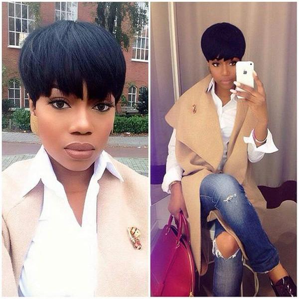 Yeni Arrivel Cut Düz İnsan Saç Peruk Pixie Yarım Saç Modelleri Dantel Ön Peruk Kısa Brezilyalı 100 Virgin İnsan Saç Peruk Siyah Kadınlar Için