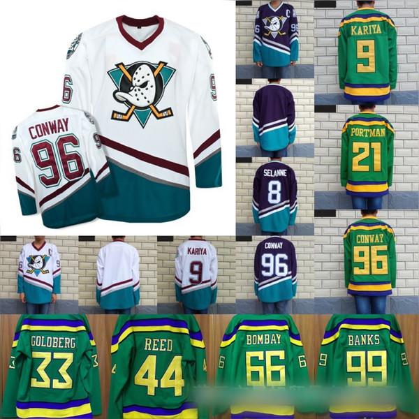 newest 15e61 02966 Großhandel Mighty Ducks Trikot 66 Gordon Bombay 96 Charlie ...