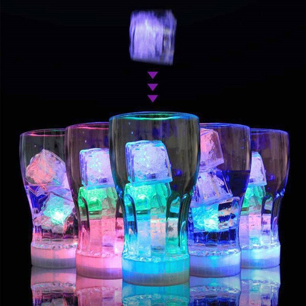 LED Fluorescent Block Flash Ice Cube Water-Actived Flash Led Light Put Into Water Drink Flash Automatically for Party Wedding Bars Christmas
