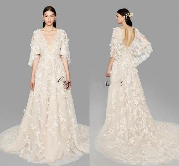 2019 Custom Marchesa Butterfly Sleeve A Line Abiti da sposa Plus Size Dubai Arabo Depp V Neck Princess Abiti da sposa con fiori