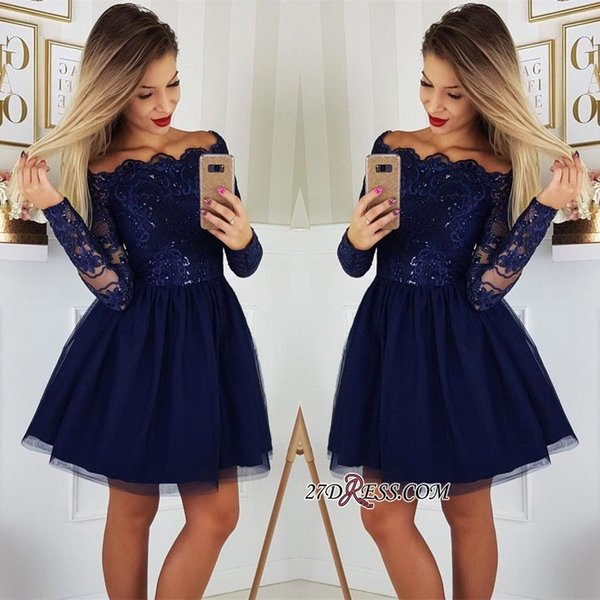 2019 Long Sleeves Lace A-Line Homecoming Dresses Tulle Applique Short Prom Cocktail Party Dresses Plus Size Vestidos De Festa BC0062