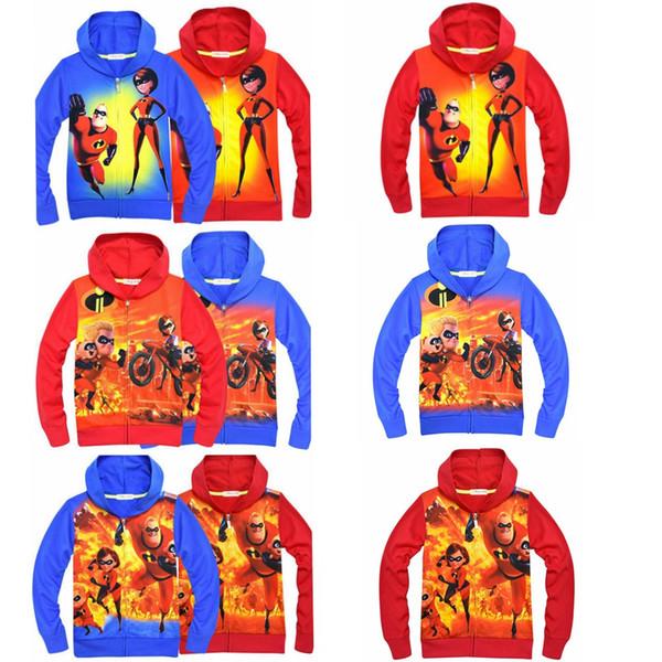 6 colores Super Hero cremallera sudadera con capucha Niños bebés imprimir abrigos 2018 otoño Hoodies Cardigan camisa con cremallera chaqueta Outwear niños Ropa MMA307 50pcs