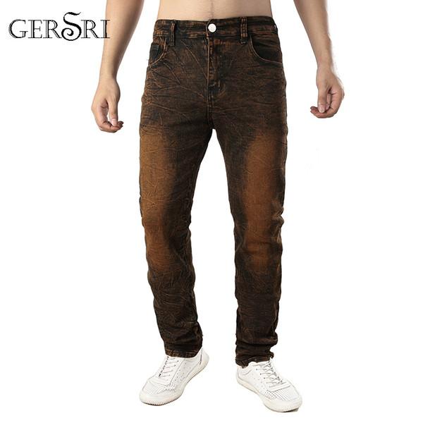 Gersri Moda Tasarımcısı Kot Erkekler Düz Koyu% 100% Pamuk Baskılı Erkek Kot Yırtık Yepyeni Varış Erkek