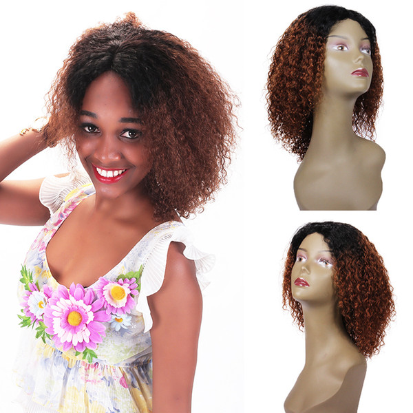Fashion cheap discount on sale 100% unprocessed remy virgin human hair short ombre color afro curly full lace cap wig for women