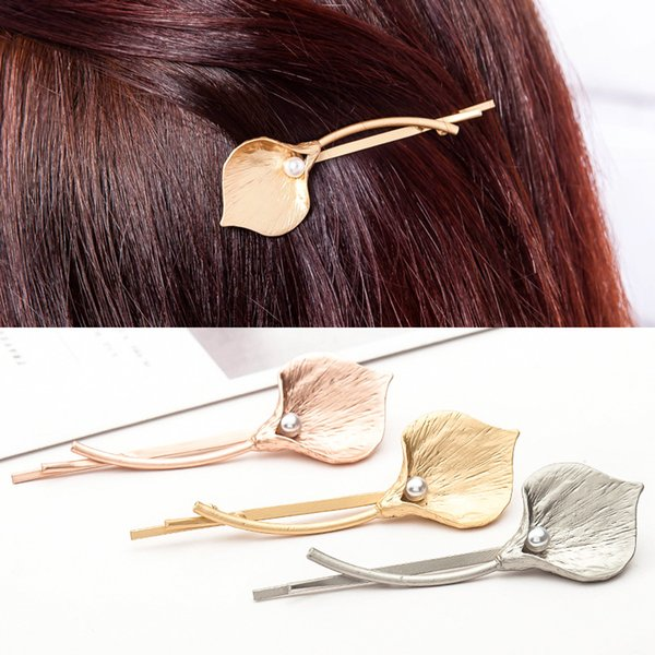 best selling Metal Calla Lily Hair Clips Simple Imitation Pearl Alloy Flower Hair Pins 2018 Fashion Women Barrettes Accessories Wholesale Free Shipping