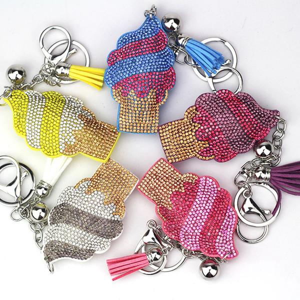 New creative diamond key ring fashion cartoon tassel pendant ice cream keychain handbag key bag pendant accessories gift