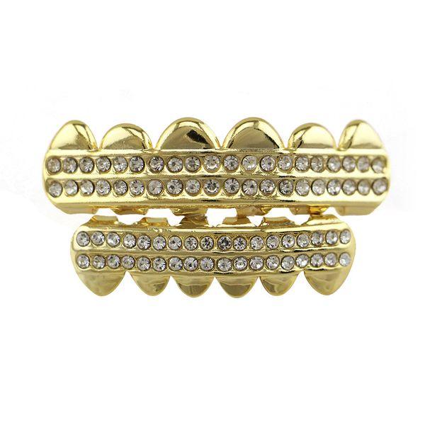 Best price gold Grillz braces diamond crystal rhinestone hip-hop body jewelry teeth tooth hip-hop rap style Dental Grills free shipping