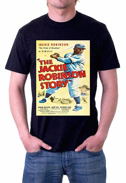 Crear camisetas Impresión de hombre The Jackie Robinson Story Baseball Vintage Poster Art T-shirt O-cuello camisa de manga corta