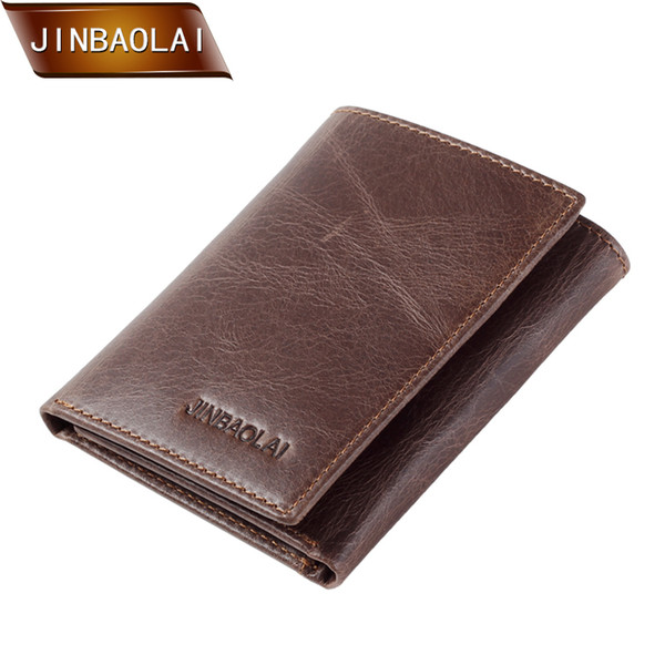 JINBAOLAI Men's Wallet Vintage Genuine Leather Trifold Wallets and Purses Short Design Holder Coin Purse Carteira