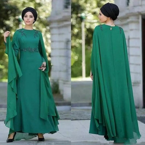 Muslim Evening Dresses With Wrap Ankle Length Chiffon Beaded Long Sleeves Prom Dress Back Zipper Plus Size Women Formal Party Gowns