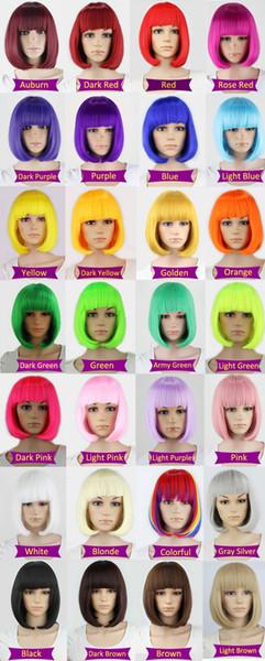 Синтетический 10inch прямой короткий Боб парики Bangs Синий Золотой Красный Черный Белый Фиолетовый Розовый Зеленый Коричневый парик Cosplay Женский
