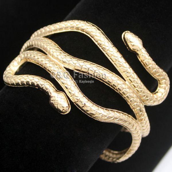 Toute la venteOr Argent Égypte Égypte Cleopatra Tourbillon Serpent Bras Manchette Brassard Brassard Grand Bracelet Large Bracelet Manchette Bijoux Indiens Pulseiras Femmes Hommes