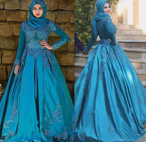 Ice Blue Color Long Sleeves Lace Satin Muslim Wedding Dresses With Hijab Ball Gown Crystal Dubai Bridal Gowns Robe de Mariee