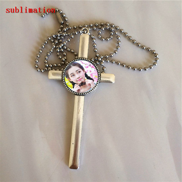 fashion blank necklace pendant for sublimation cross blank round necklaces pendants for heat Transfer 20MM wholesales