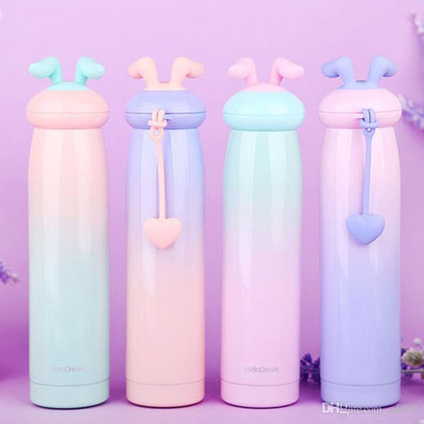 Rabbit Stainless Steel Water Bottle Vacuum Cup Heat Resistant Novelty Silicone Handle Lovely Mug For Children Easter Gift 25lw dd