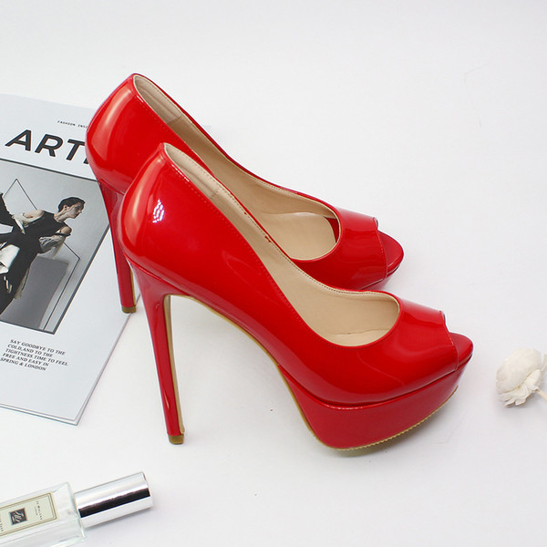 ae5703321 Classic lady peep toe pumps sexy patent leather red bottom high heels brand  14.5cm super