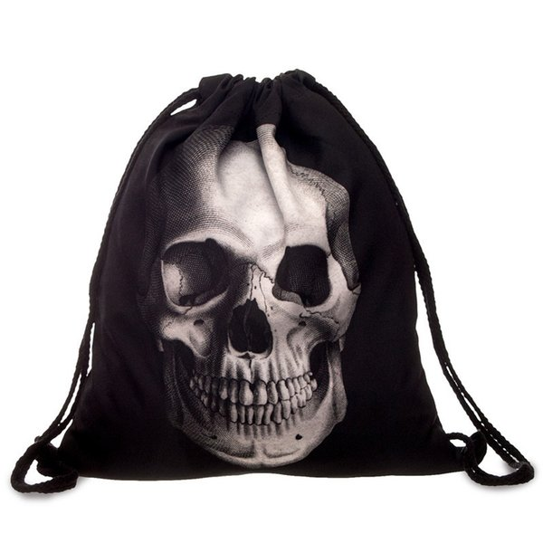 punk women oxford drawstring bags backpack skull print vintage college students school bagpack girls feminina sack bags