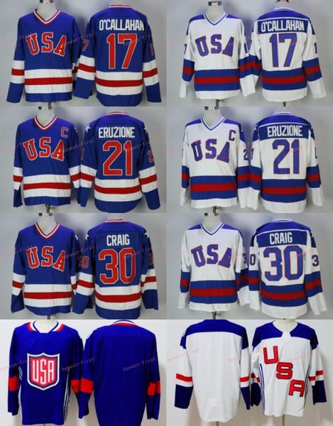 Maillot de hockey 1980 des États-Unis d'Amérique pour les hommes, 30, Jim Craig, 21: Mike Eruzione, 17 ans, Jack O'Callahan, équipe des États-Unis, miracle de l'année des chandails vintage