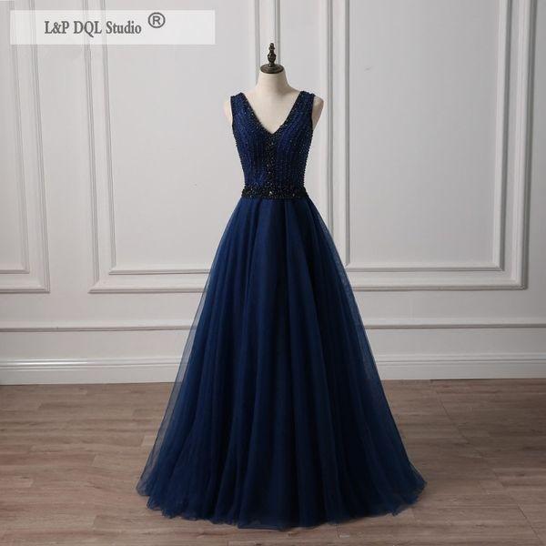 Dark Navy Evening Dresses V-Neck Sleeveless Sparkling Beads Sequins Lace-up Back Floor Length Prom Dresses Elegant Mother of the bride dress