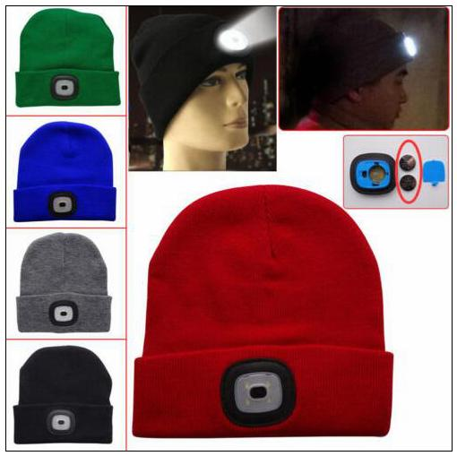 17 Colors LED Light Warm Hat Battery Type Winter Beanies Fishing Camping Cap Knitted Hat Camping Outdoor Crochet Hat CCA10320 60pcs