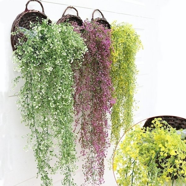 1pc 110cm Artificial Ivy Leaf Plastic Plants Hanging Garland Vine Fake Foliage for Home Office Wedding Christmas Decoration