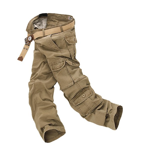 Fashion Cargo Pants Men Loose Baggy Tactical Trousers Oustdoor Casual Cotton Cargo Pants Men Multi Pockets Big size