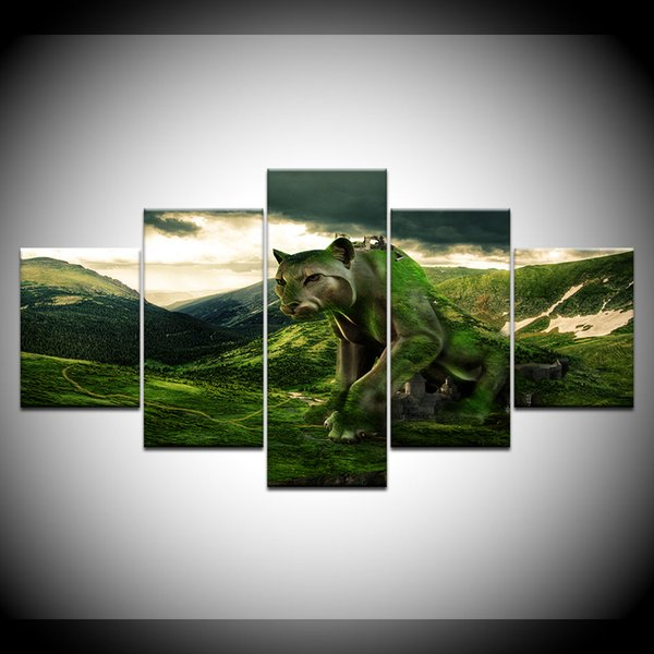 5 Pieces Wall Art Picture Unframed Home Decoration Lion Animal Oil Painting On Canvas HD Print Poster Painting Popular Gift