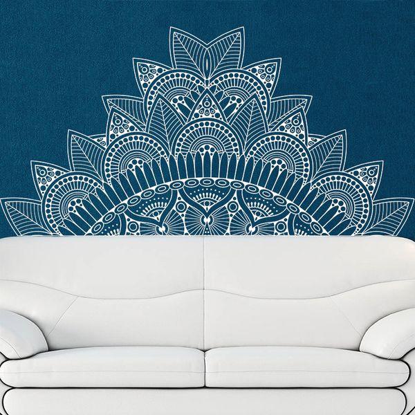 Creativo Mandala Flower Beds testiera Vinyl Sticker Lotus Boho Poster Bohemia India Bohemia Yaga Wall Bedroom Home Decor
