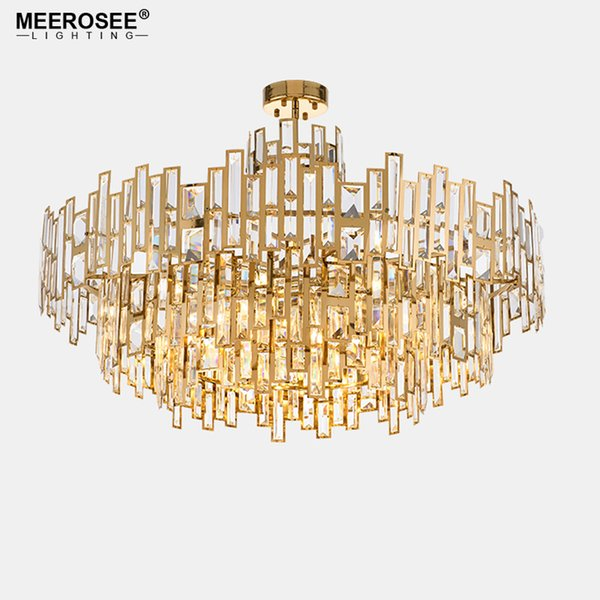 Luxurious Crystal Chandelier Light Gold Crystal Hanging Lamp for Restaurant Hotel Project Lustres Luminaire Lighting