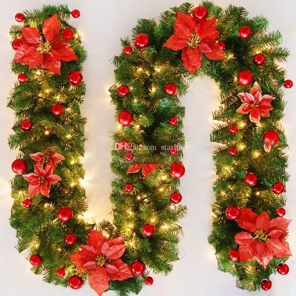 DIY Christmas Decorations Rattan Bar Tops Ribbon Christmas Home Decoration Garland Christmas Tree Ornaments 2.7m XWX9-1048