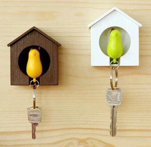1set Kawaii Whistle Bird House keychain Key Chain Wall Mount Hook Key Hanger Holder Sparrow Key Holder Keyring gift home decor