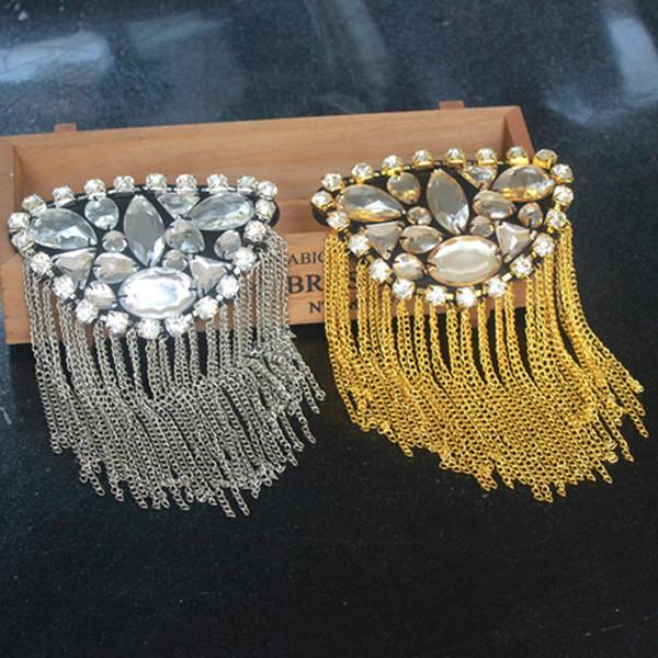 Kleid Teile Metall Quasten Golden Silbrig Künstliche Bohrer Brosche Mann Frau Dame Schulter Kleidung Zubehör Mode 13 5qy bb