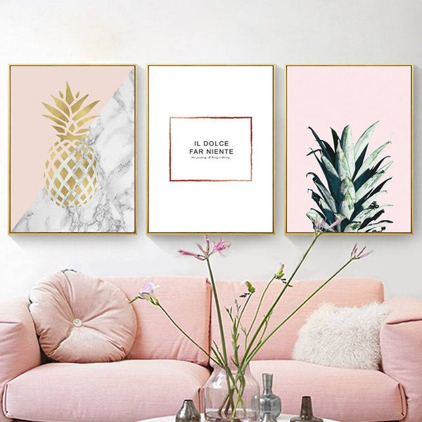 2019 Nordic Pineapple Letter Canvas Painting Wall Poster For Living Room  Modern Fresco Bedroom Art Posters And Prints Cuadros From Aliceer, $24.19 |  ...