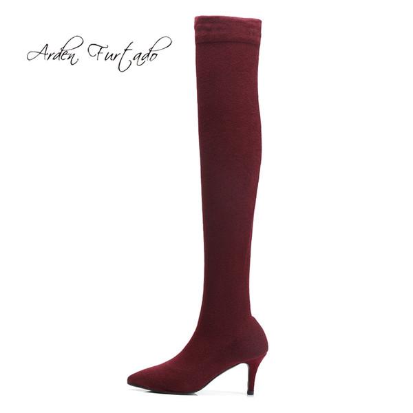 Arden Furtado 2018 spring autumn fashion slip on burgundy over the knee high heels 7cm thigh high stilettos socks Stretch boots