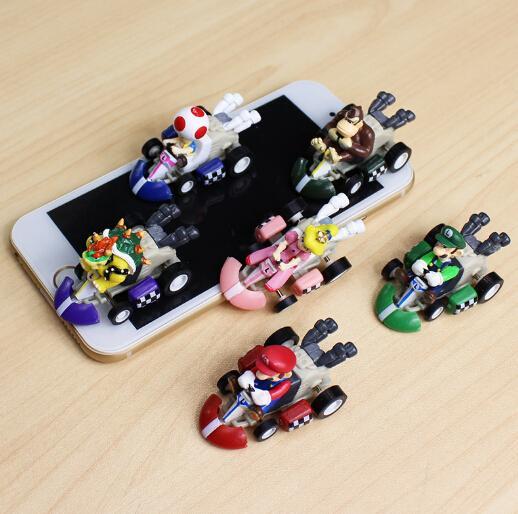 6pcs/lot Super Mario Mini Kart Pull Back Cars Luigi Toad Bowser Koopa Donkey Kong Princess Peach Cars Figure Toys