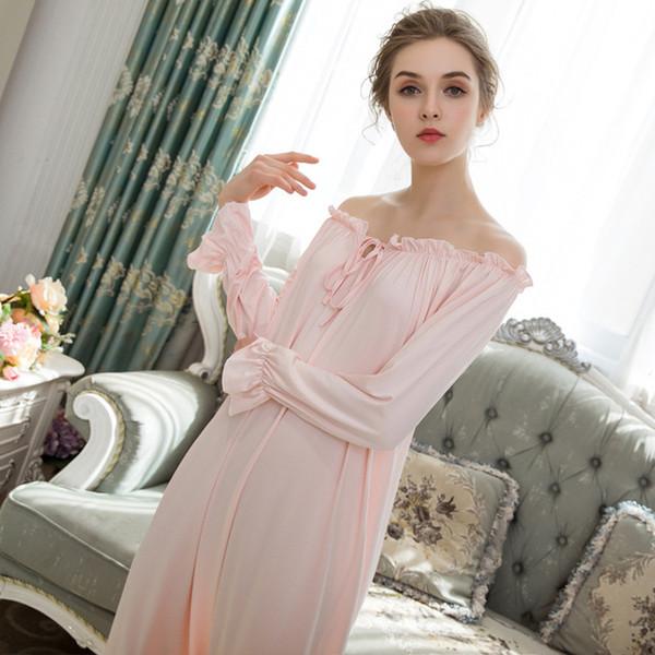 Adjustable Collar Long Sleeve Nightdress Women Sleepwear Ladies Nightgowns Sleepshirts Girls Sleeping Dress Home Nightwear