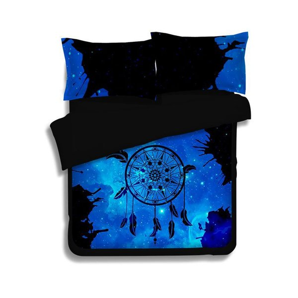 Dreamcatcher Bedding Set Queen Size Feather Blue Printed Quilt Cover Boho Bedclothes 3/4pcs Adult Kids  Chinese Textiles