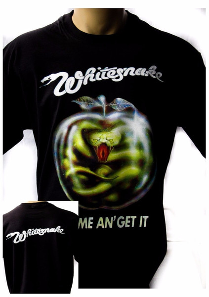 Style Vintage Tees Funny Novelty Men O-Neck Whitesnake Come And Get It 1981 Black New T-Shirt Rock Band Shirt Short-Sleeve Tees