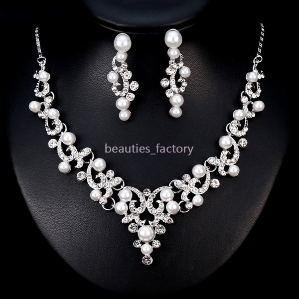 Bridal Wedding Jewelry Artificial Pearl Crystal Rhinestone Necklace Earring Sets Wedding Party Jewelry Accessories Ba182 New Wedding Bride Jewelry