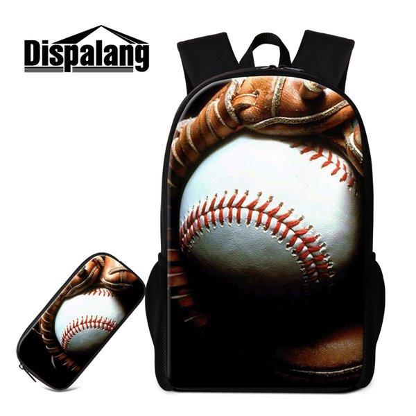 Baseball Rucksack und Federmäppchen für Jungen Teenager Schultasche Sport Bookbag für Kinder Cooler Rucksack für Grundschüler Kinder Bagpack