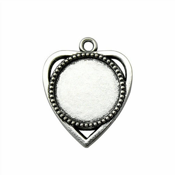 15 Pieces Cabochon Cameo Base Tray Bezel Blank Hand Made Jewelry Making Heart Single Side One Hanging Inner Size 18mm Round glass cabochons