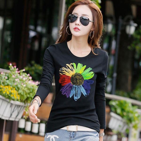 New 2018 T Shirt Women Long Sleeve Cotton T-shirts For Women Fashion Print Female T-shirt Casual Winter Tops Tees Camisetas