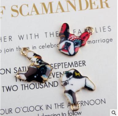 10pcs bull dog pendant alloy enamel charm DIY accessories of necklace bracelet headdress handmade fitting
