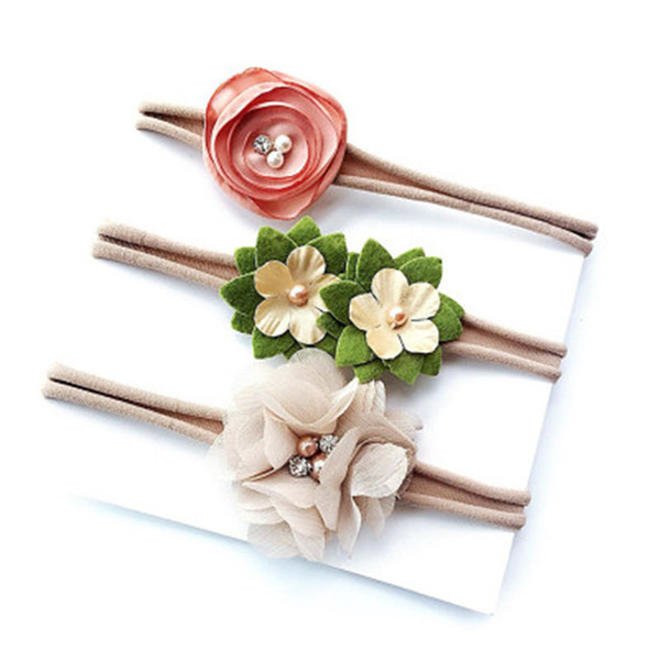 3Pcs/Set Infant Ribbon Lace Pearl Flower Headband Rubber Rope Girls Hairband Elastic Headwear for Baby Girl Kid Hair Accessories