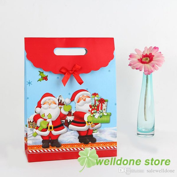 2018 New Year merry Christmas send blessing small gift bags fashionable packaging paper bag M size