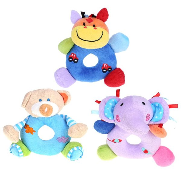 Soft Animal Plush Rattles Toy Kids Soft Handbells Grasp Training Toys Baby Bell Cute Cartoon Plush Toddler Toys Small Pendant