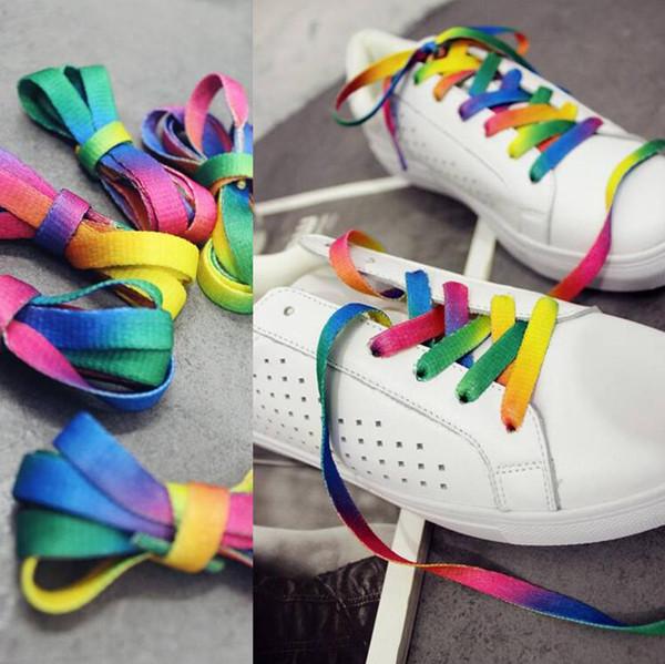 2017 Rainbow Shoelaces Athletic Shoelace Sport Sneaker Shoe Laces Strings Gradient Print Flat Canvas Shoe Lace